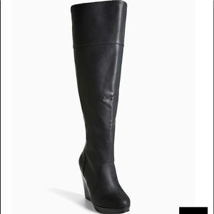 Torrid black over the knee wedge boots